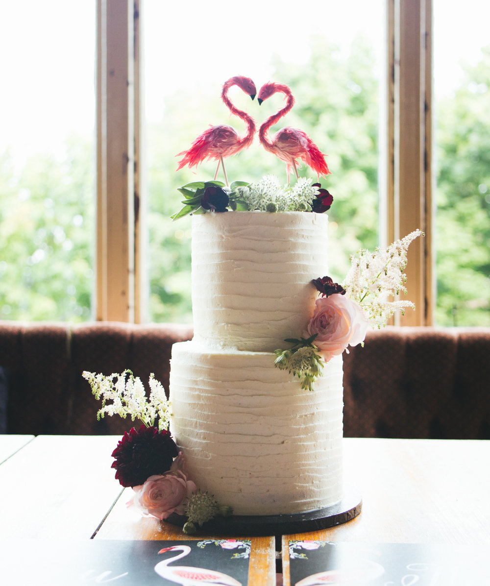 Floral Lined Buttercream Wedding Cake