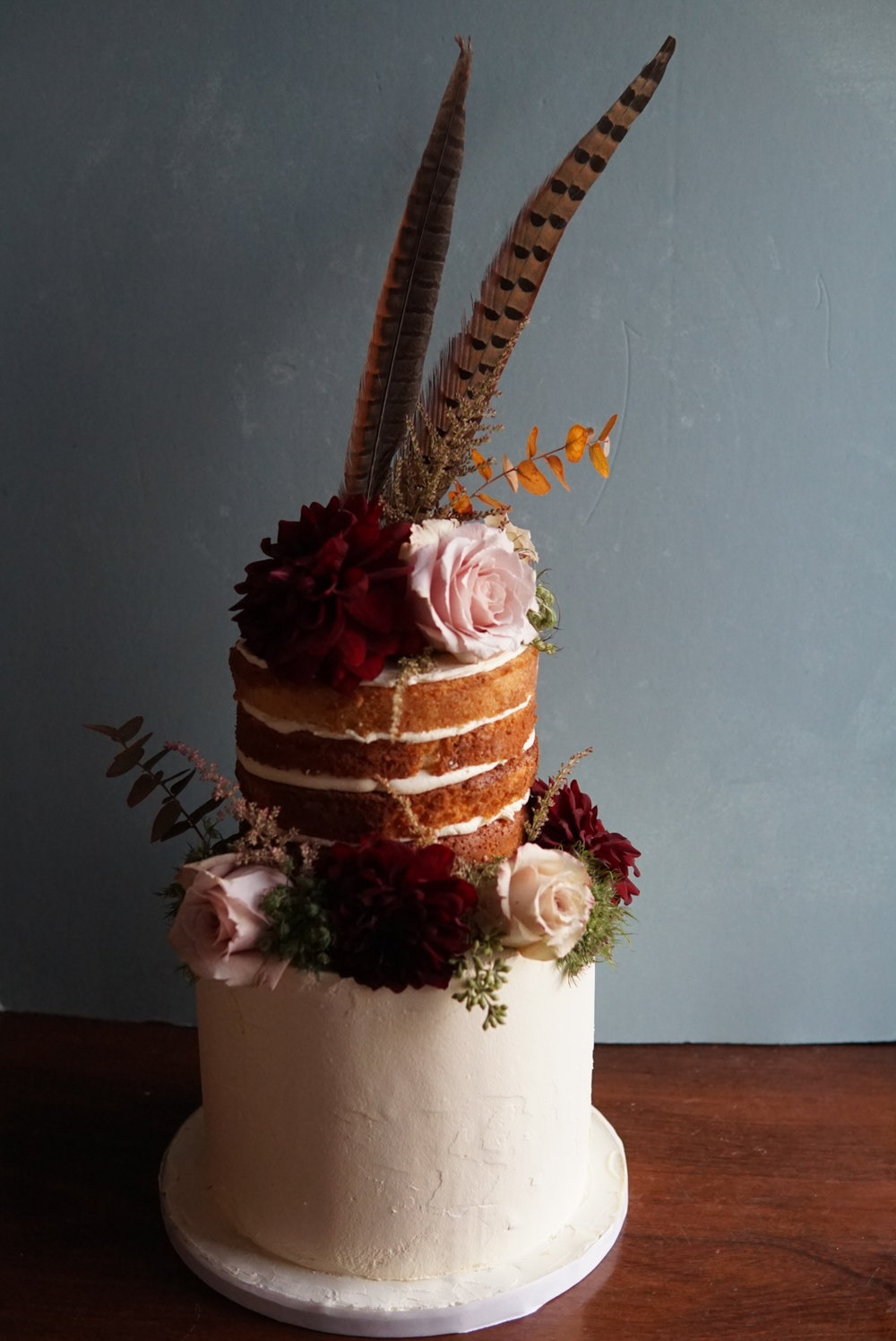 boho naked wedding cake buttercream brighton sussex