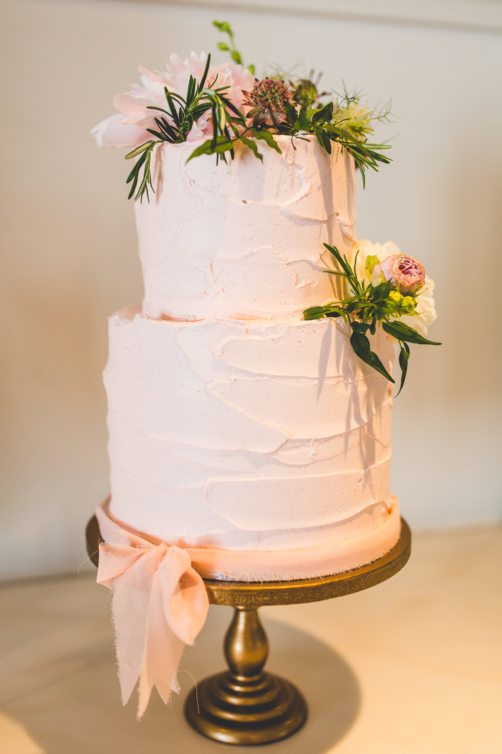 Pink Textured Buttercream Wedding Cake