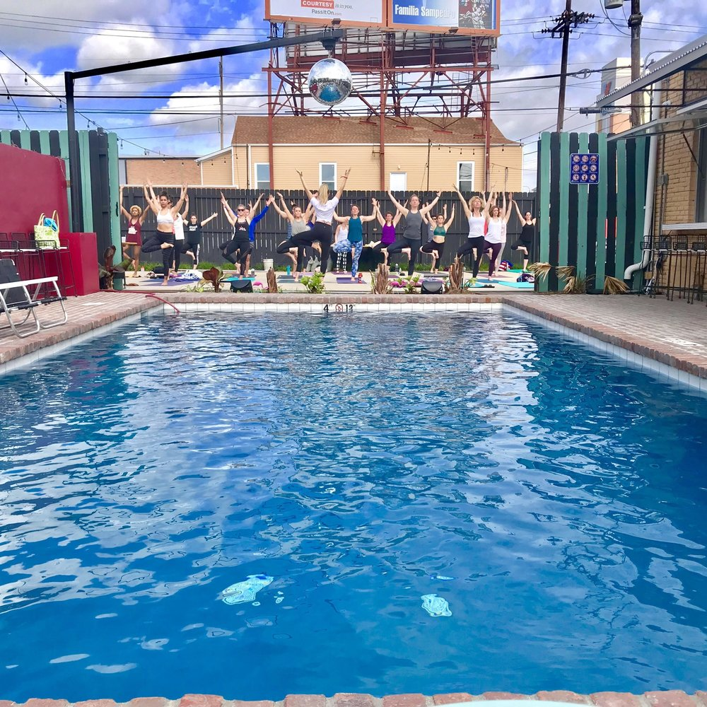 Poolside Tribe Yoga - Saturdays 10am Followed by 11am Pool Party!$15 Ticket via Eventbrite: HEREJoin NOLA Tribe Yogafor upbeat power yoga, mimosas and full-on pool party with DJ every Saturday this spring at THE DRIFTER HOTEL!Tickets are $15 and include a 60-minute NOLA TRIBE YOGA class, pool admission at THE DRIFTER HOTEL for the entire day, and a complimentary mimosa! Come get your flow on, then jump in the pool with us!The Drifter Hotelhas been open just one year and is a hip&trendy retro-vibe oasis tucked away in the heart of MidCity.