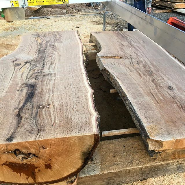 "#blackoak 3"" to 4"" slabs #lucasmill @millworkz @murphyswoodworks #teamwork"