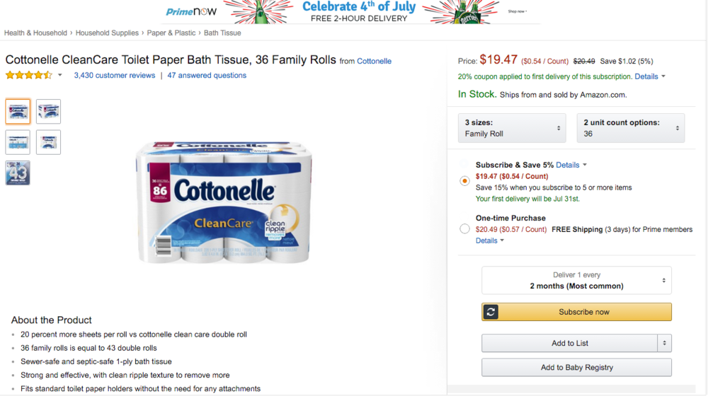 Cottonelle, 36 rolls for $19.47 after the Subscribe & Save deal..