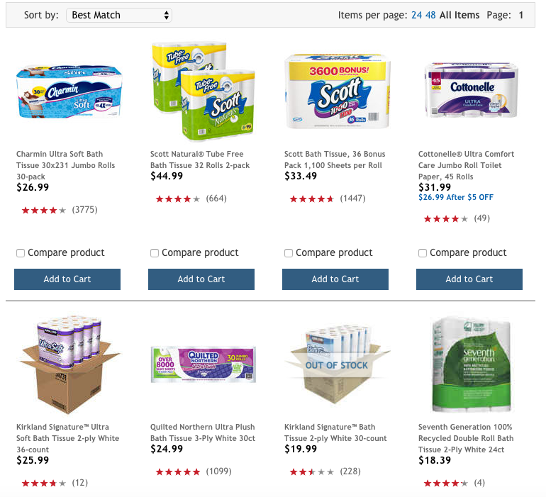 Cottonelle, 45 rolls for $26.99 is roughly $1.67/roll at Costco (Amazon was $1.85/roll) Kirkland Signature, 30 rolls for $19.99 - roughly $1.50/roll or the 36 rolls for $25.99 - $1.39/roll.