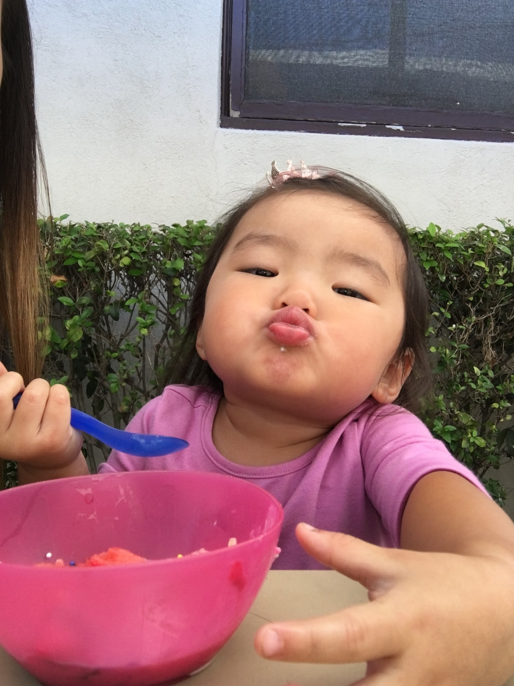 Kissy face for 2 scoops of ice cream with sprinkles AND watermelon!