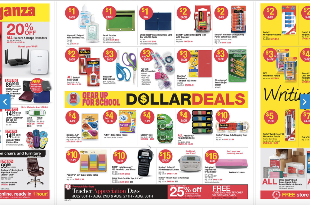 8 oz. Office Depot hand sanitizers for $1 (no max) and Elmer's 8 ct glue sticks $2 (no max)