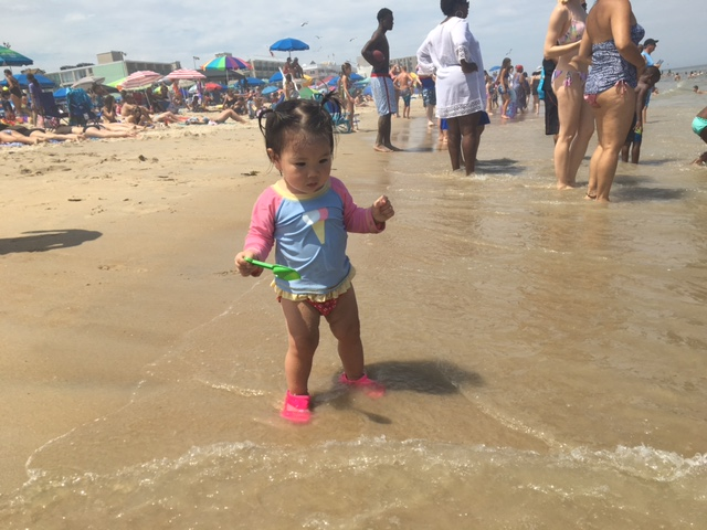 She was so cautious with the waves. Making sure it was safe.