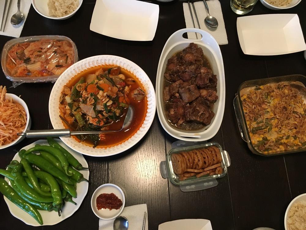Maeuntang (Korean Spicy Fish Soup) + Galbijjim (Beef Short Ribs) + staple Green Bean Casserole Thank you, omar!