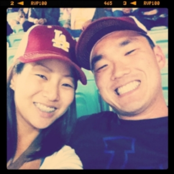 Let's go Dodgers! All smiles on our first official date.