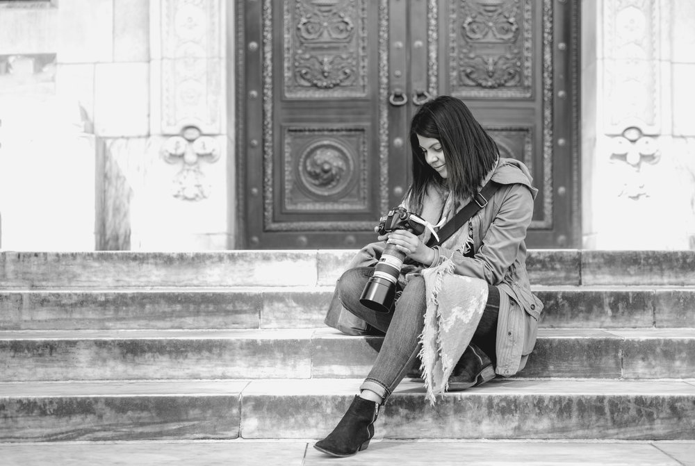 Photo of me on the steps of the New York Public Library by Rahil Jivani