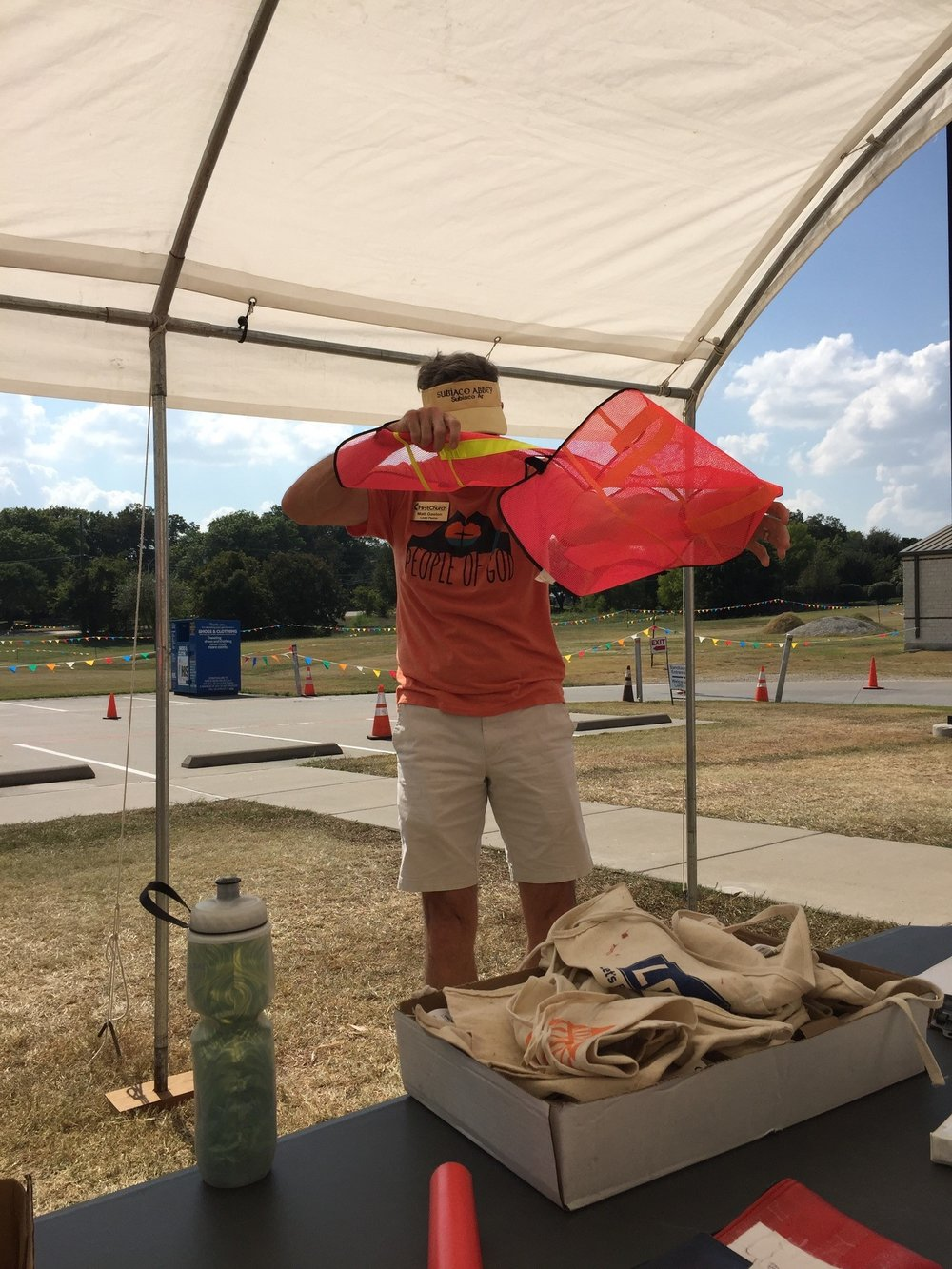 Pastor Matt grounded by a safety vest at the Plano Balloon Festival this past Sunday.