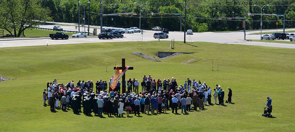 The   Our Home   Prayer Team organized a gathering at the new cross to kick off Celebration Sunday on April 29, 2018. This cross was place in reverence to the cross that was placed on our property 17 years ago when we broke ground on our building. This is   #OurHome  ; we love, respect and care for it as our own.