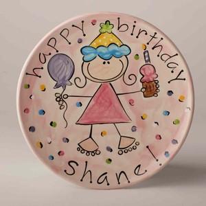 Personalized Ceramic Happy Birthday Cake Plate