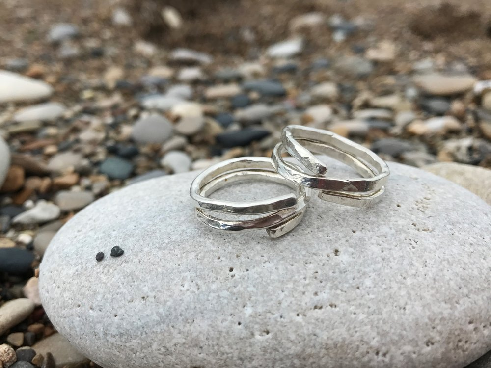 Hammered wire Sterling Silver double rings