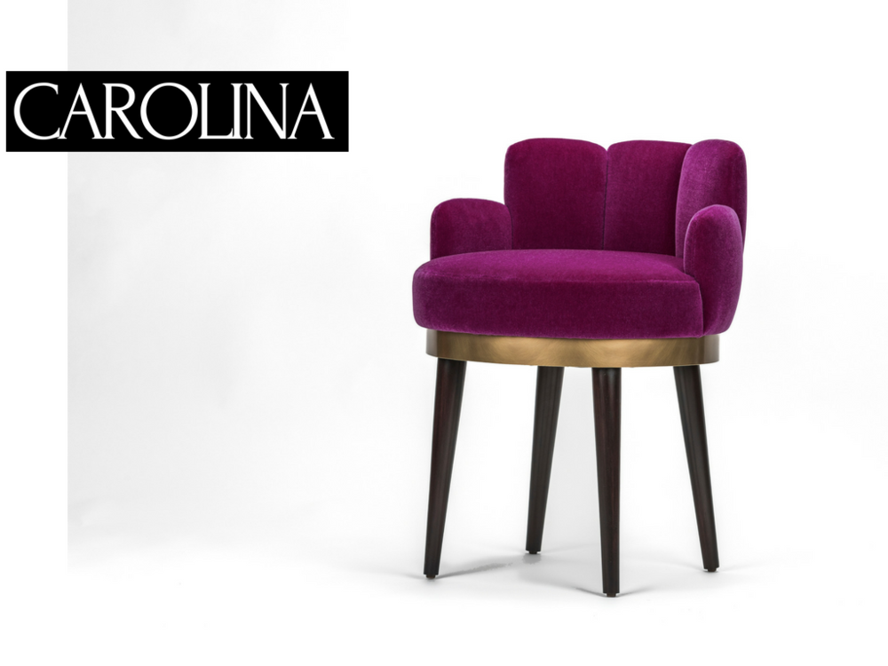 "VANITY CHAIR | $3,300  - _Carolina Otero - Mistress to Edward VII known for her coveted voluptuous shape.  The Carolina Vanity Chair with its graceful, full curves will make you feel like you're his one true Queen.    1'-8""d x 1'-6""w x 2'-6""h *"