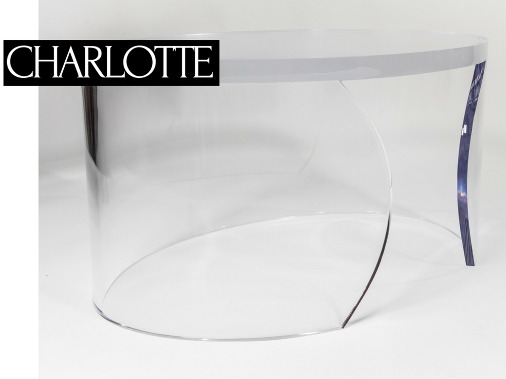 "COFFEE TABLE | $3,800 - _Charlotte de Beaune Semblancay - Mistress of King Henry IV of France, part of the notorious ""Flying Squadron"" a group of beautiful female spies known for using their feminine wiles to seduce important men. The Charlotte lucite cocktail table is sure to lure you in with it's sexy curves and almost disappears as if it were never there.Overall: 36"