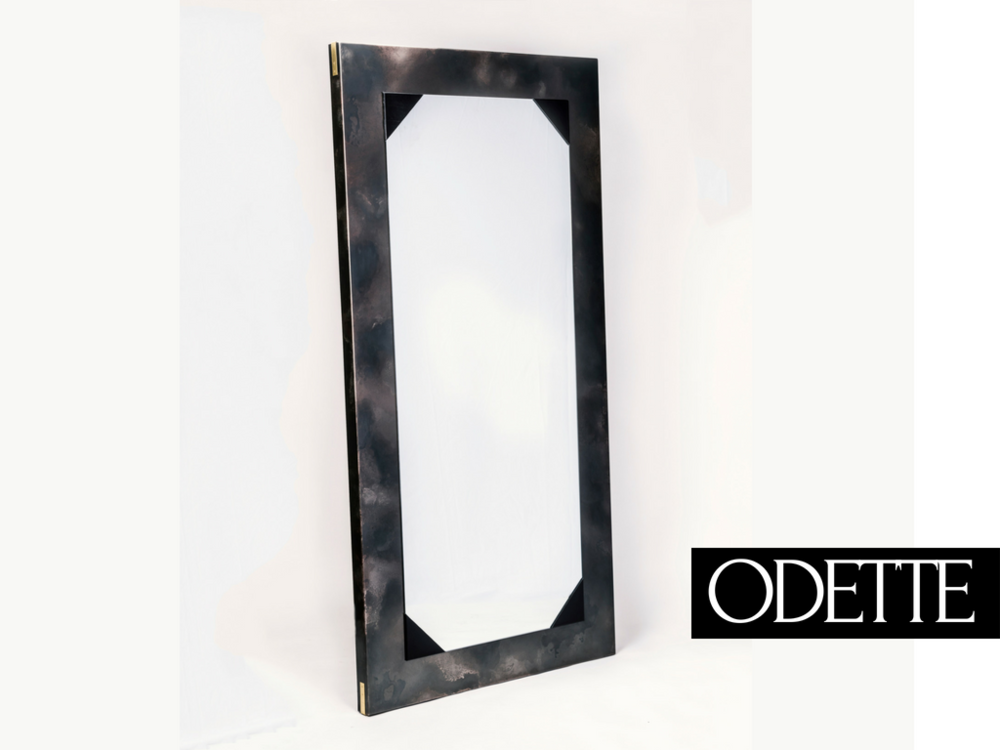 "MIRROR  - _Odette de Champdivers - Mistress to the ""mad king"" Charles VI, often contending with his paranoid delusions and schizophrenia, and at one point he believed he was made out of glass. Our Odette mirror will have you wondering who's staring back at you.42""w x 84""h x 2.5*"