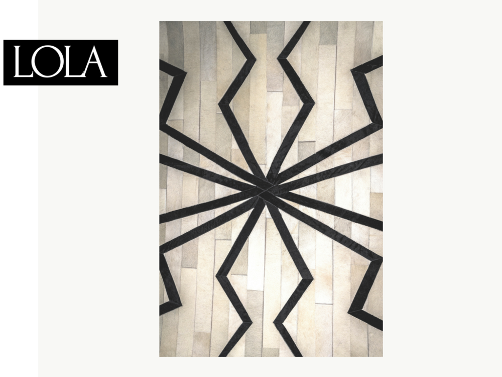 "SPIDER RUG | $6,000 - _Lola Montez - Stage name for Spanish dancer and mistress of Ludwig I of Bavaria, surrounded by scandal due to the provocative nature of her signature ""spider dance"".  Meant to be noticed, the Lola hide rug is soft and sensual with a dark, sinister edge.6'x9' *"