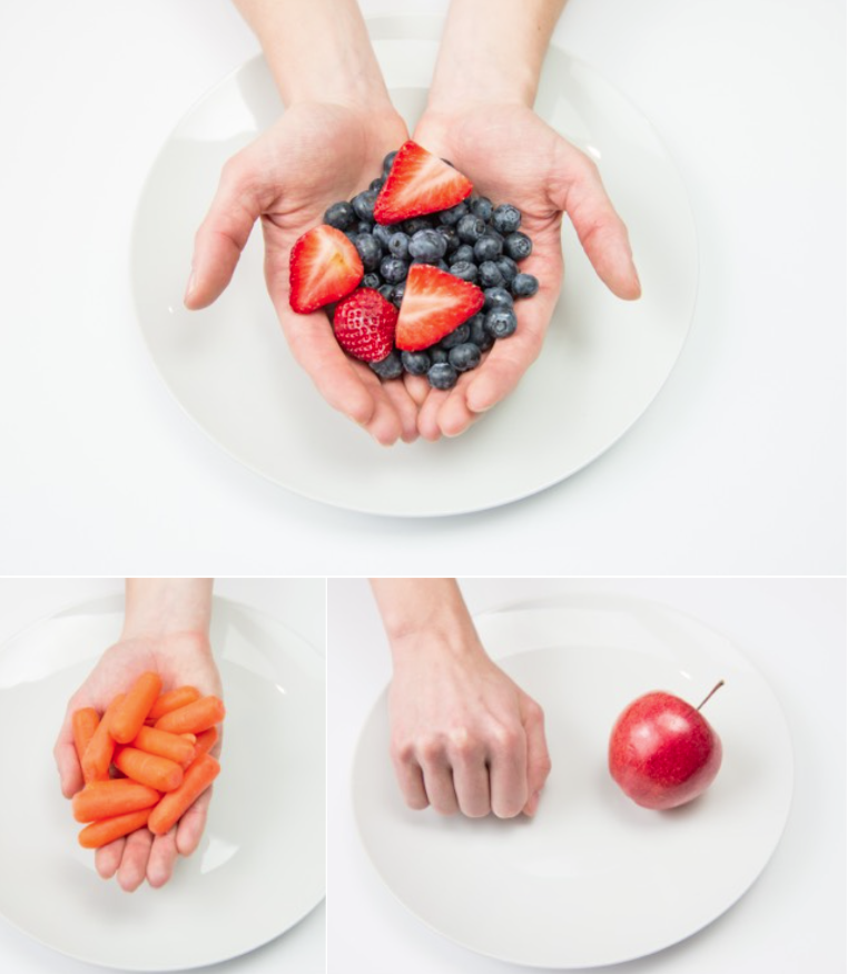hand portions fruit and startchy vegetables