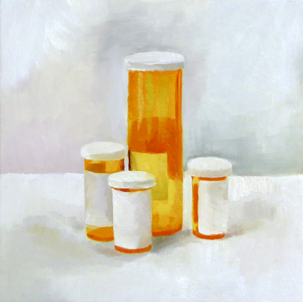 "2009 oil on panel 14""x14"""