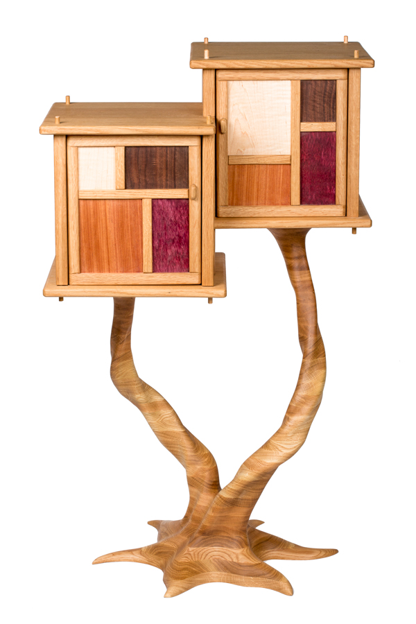 Treehouse Cabinet I; white oak base, black walnut, maple, mahogany, purpleheart; 2016