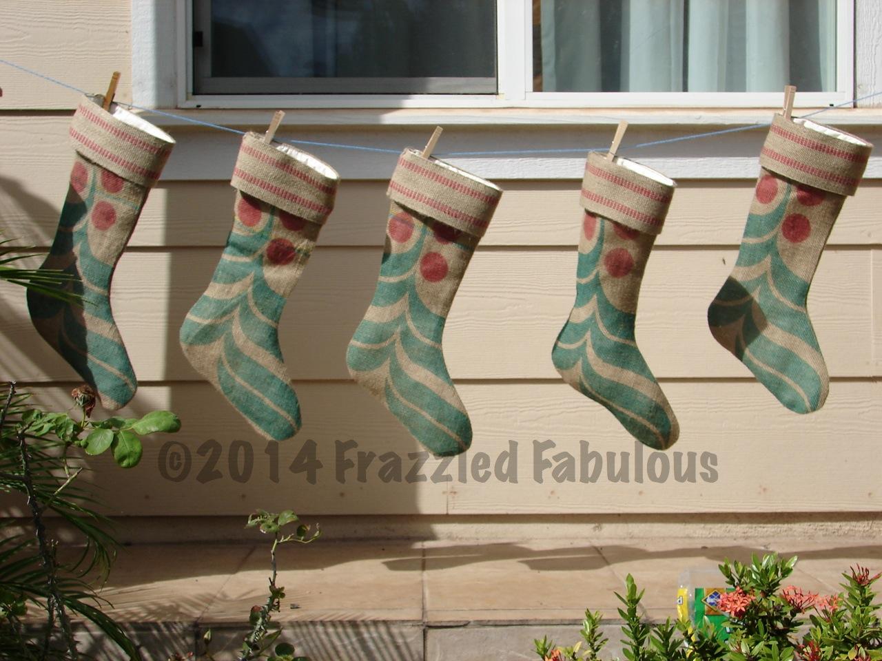 Burlap Christmas Stockings Part - 32: Upcycled Burlap Christmas Stockings
