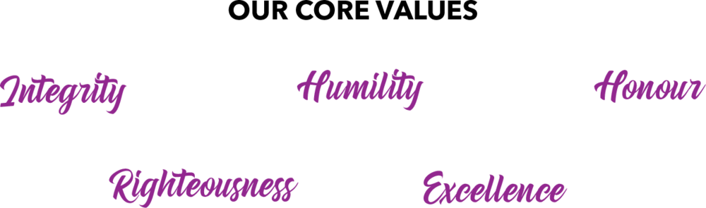 our core values, integrity, humility, honour, righteousness, excellence
