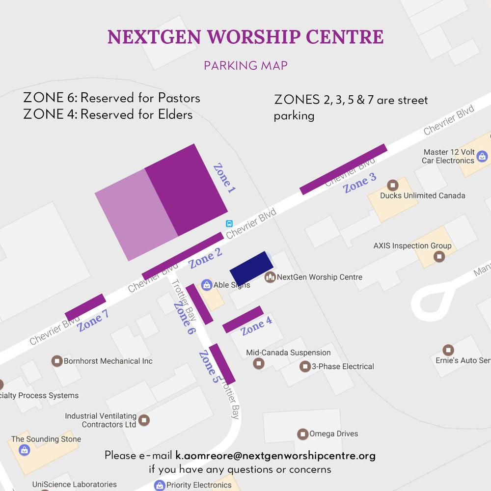 nextgen worship centre parking map