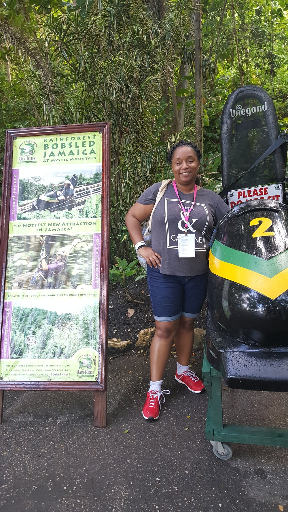 Me in Jamaica conquering my fear of heights after I rode a bobsled thru a mountain!