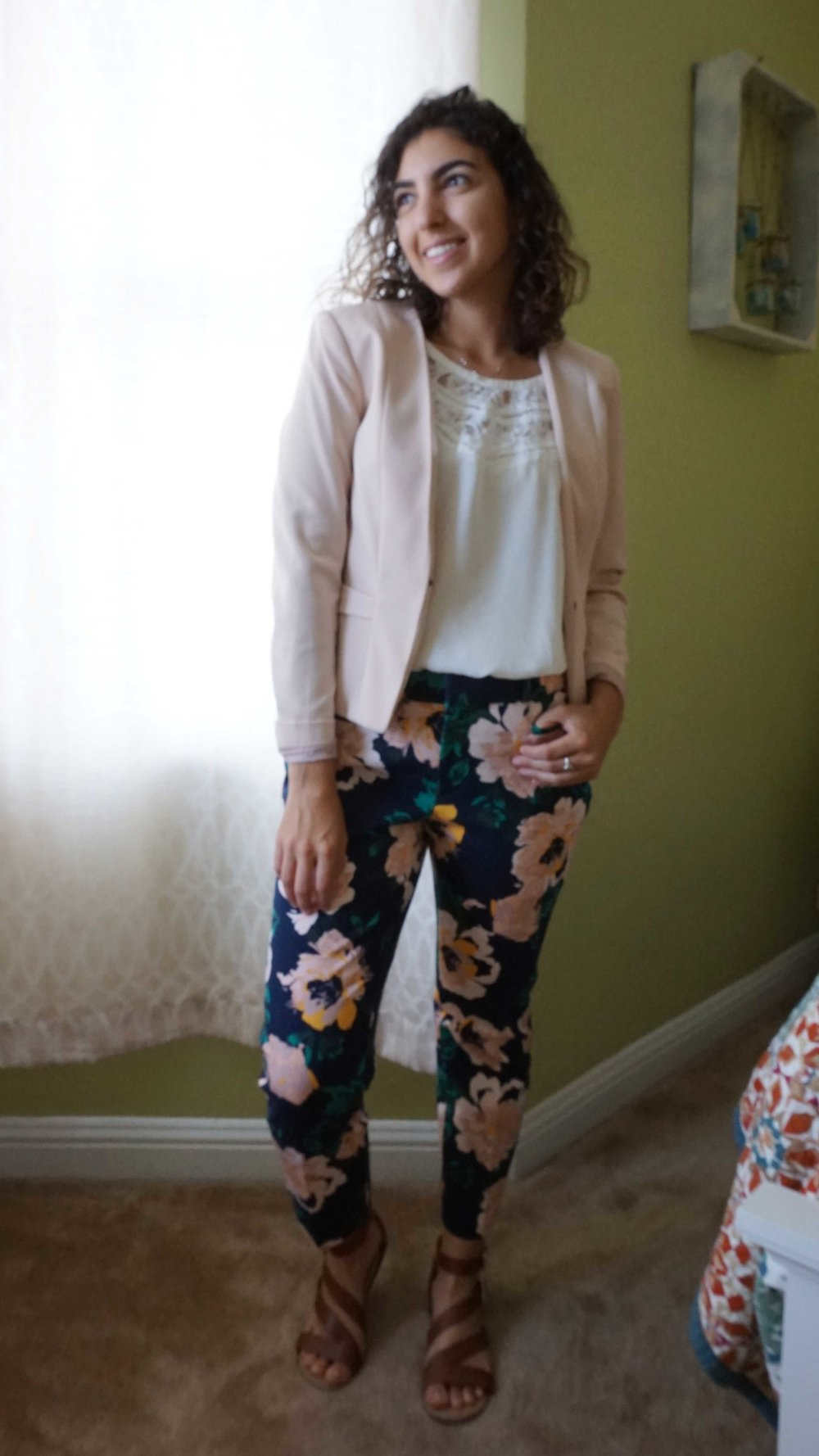 DAY 01 - I woke up in a really good mood on Day 1 and wanted the world to know it! Queue the fun floral pants. I picked these bad boys up during my latest trip to the Gilroy Outlets and have loved finding ways to style them. On this day, I opted for a white lace top and blush blazer. I felt like a floral b@da$$ in this outfit!
