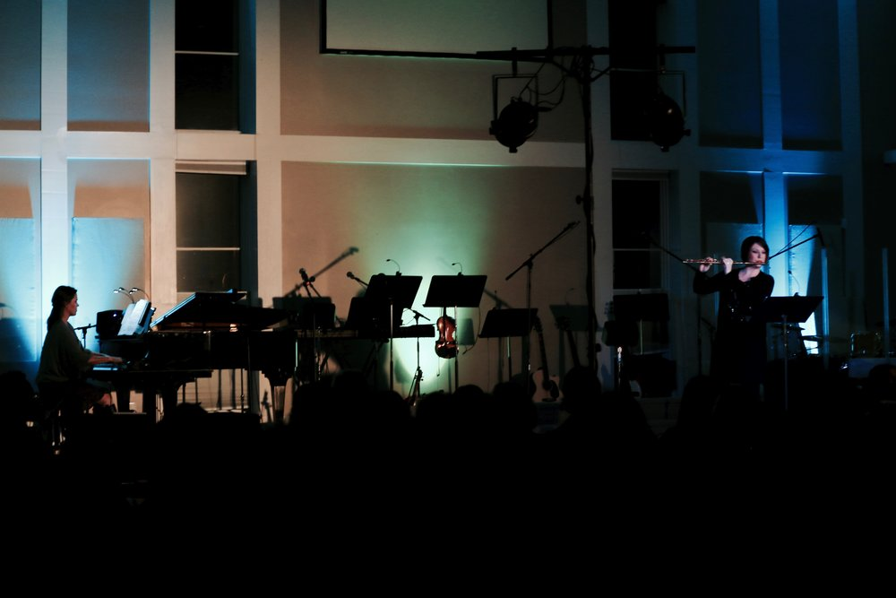 Cari Shipp Kramer (flute) and I (piano) opening the night with Dutilleux's Sonatine.