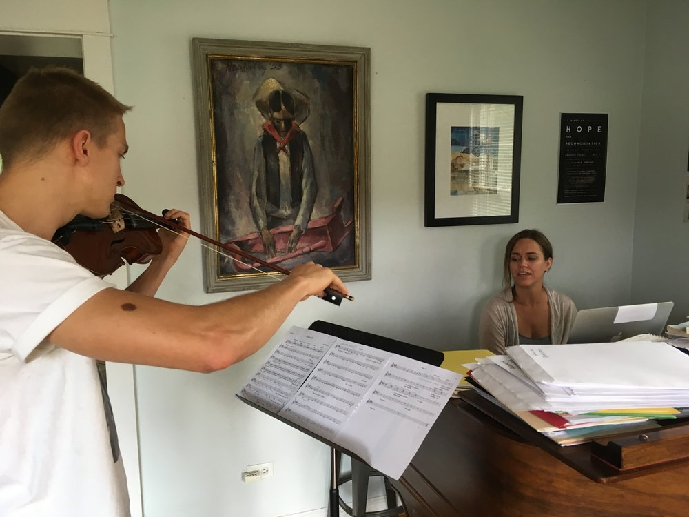 Jon Bannan and I rehearsing in my home.