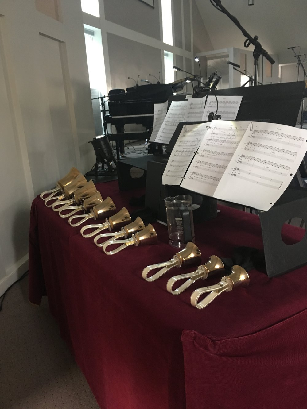 Setting up for our bell choir!  (For Psalm 45, The Wedding Song).
