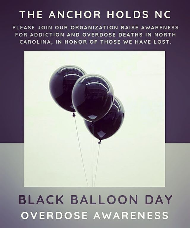 Join our organization, @theanchorholdsnc anytime on MARCH 6th to honor the victims lost from overdose and to help spread overdose awareness across North Carolina! Hang a few black balloons to display on your mailbox, porch...etc. Snap a picture and post on FB or Insta- with #theanchorholdsnc and #blackballoonday We support addiction recovery! Please consider joining the cause! #theanchorholdsnc #addiction #addictionrecovery #recovery #nonprofit #peersupport #familysupport #nc #ncrecoverymovement #blackballoonday #na #aa #sober #sobriety