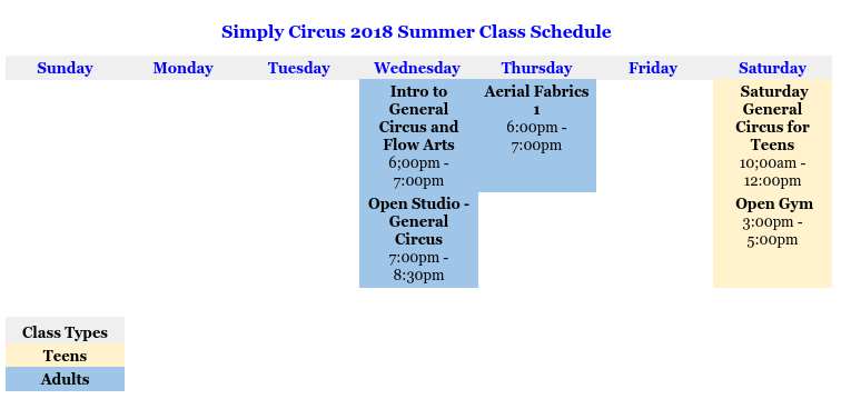 Simply Circus Summer Class Schedule