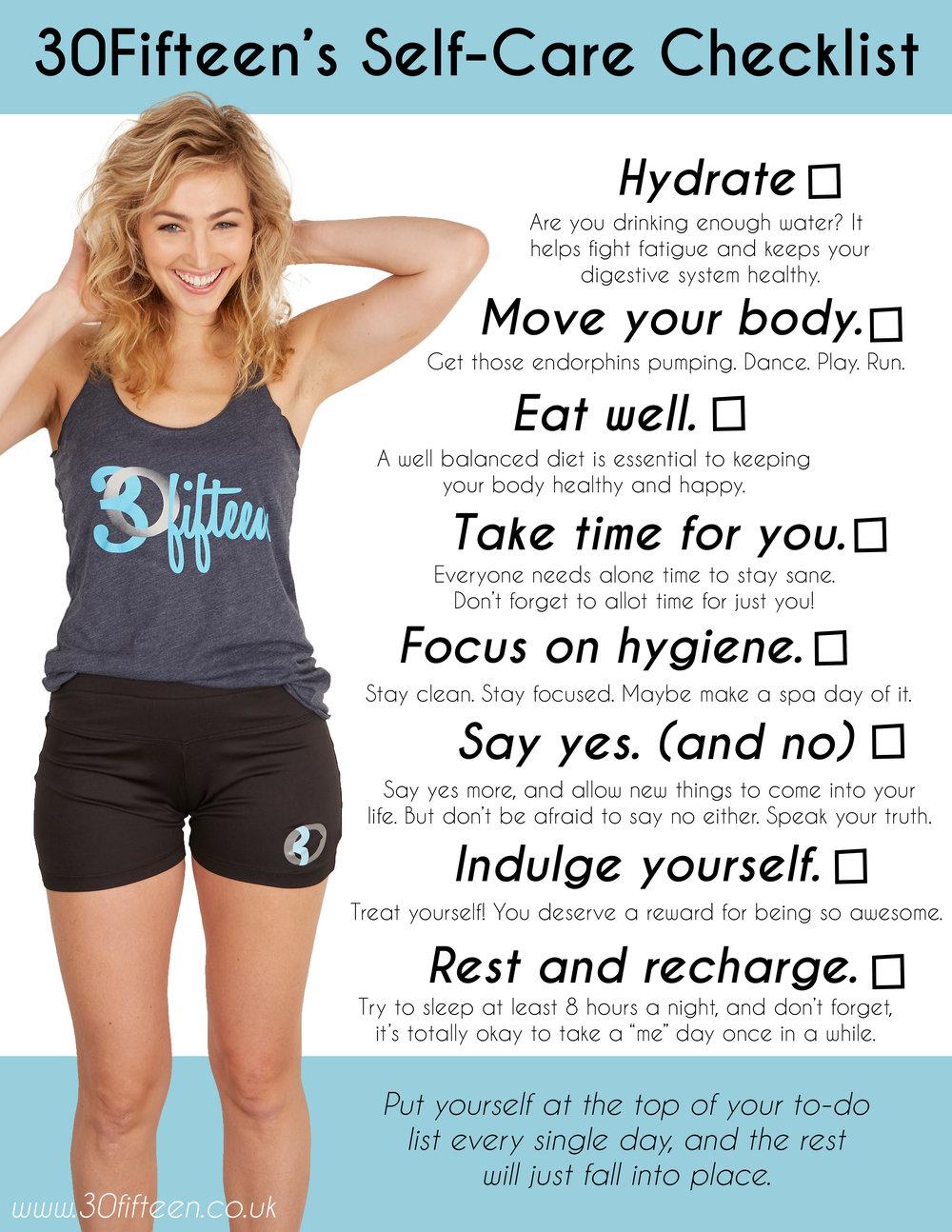 30fifteen self care checklist