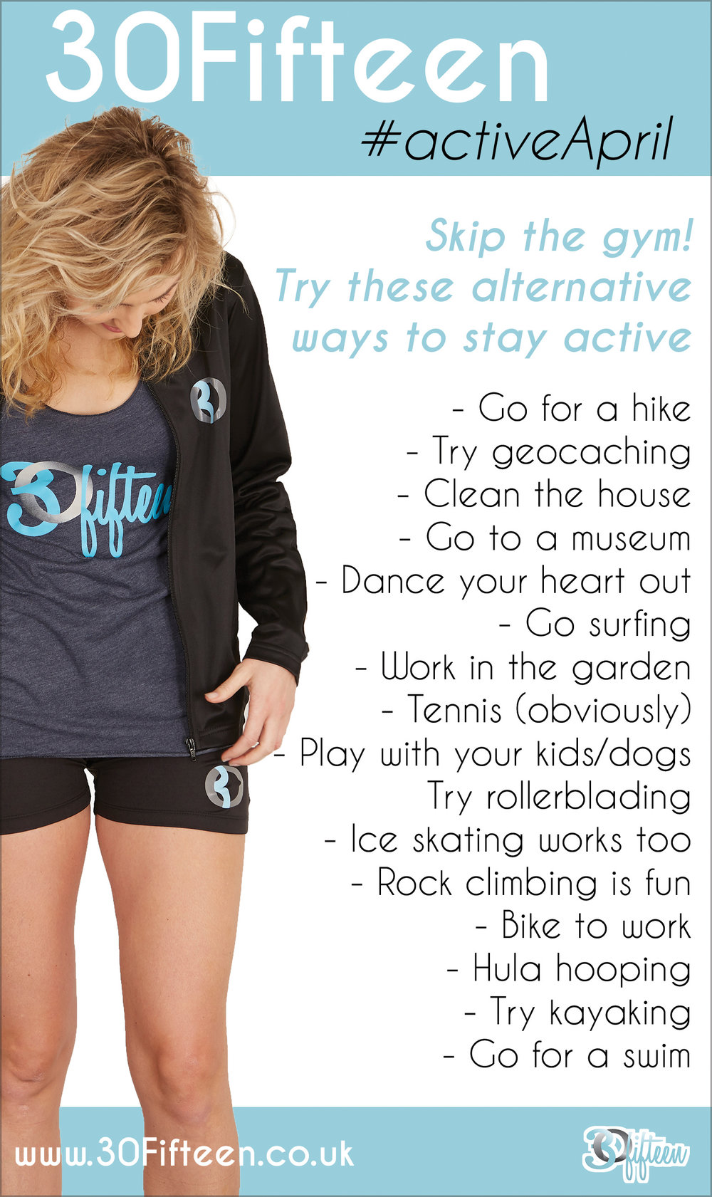 30Fifteen Active April - Alternative Workouts - Skip the Gym