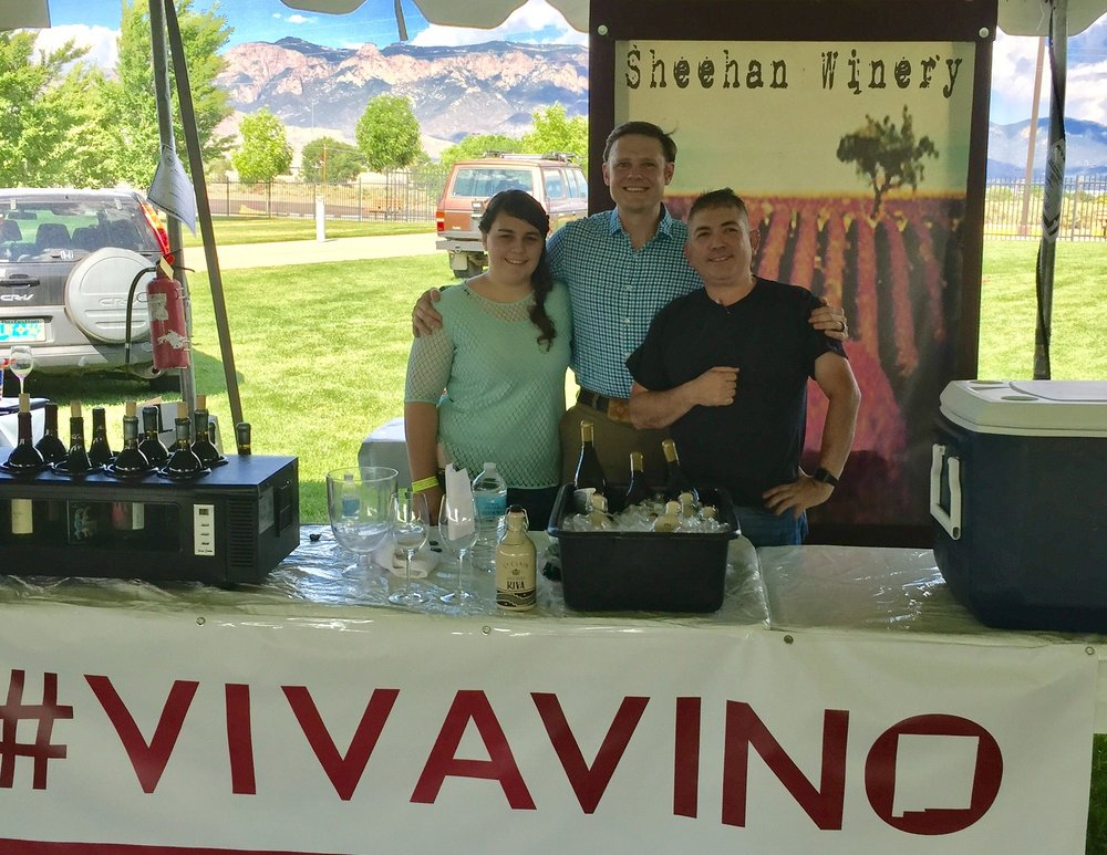 Vintage Albuquerque 2017. Pictured are left, Chelsea Canon, assistant director of New Mexico Wine, Sean Sheehan, center and Sam Aragon, president of New Mexico Wine, a statewide association of wine makers and grape growers.