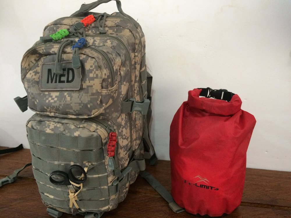 Two Bags - On our jungle expeditions, we carry two First Aid kits.1 - Fully loaded kit that stays at base camp - broken into 4 color coded categories.2 - Smaller one that goes everywhere the group travels.