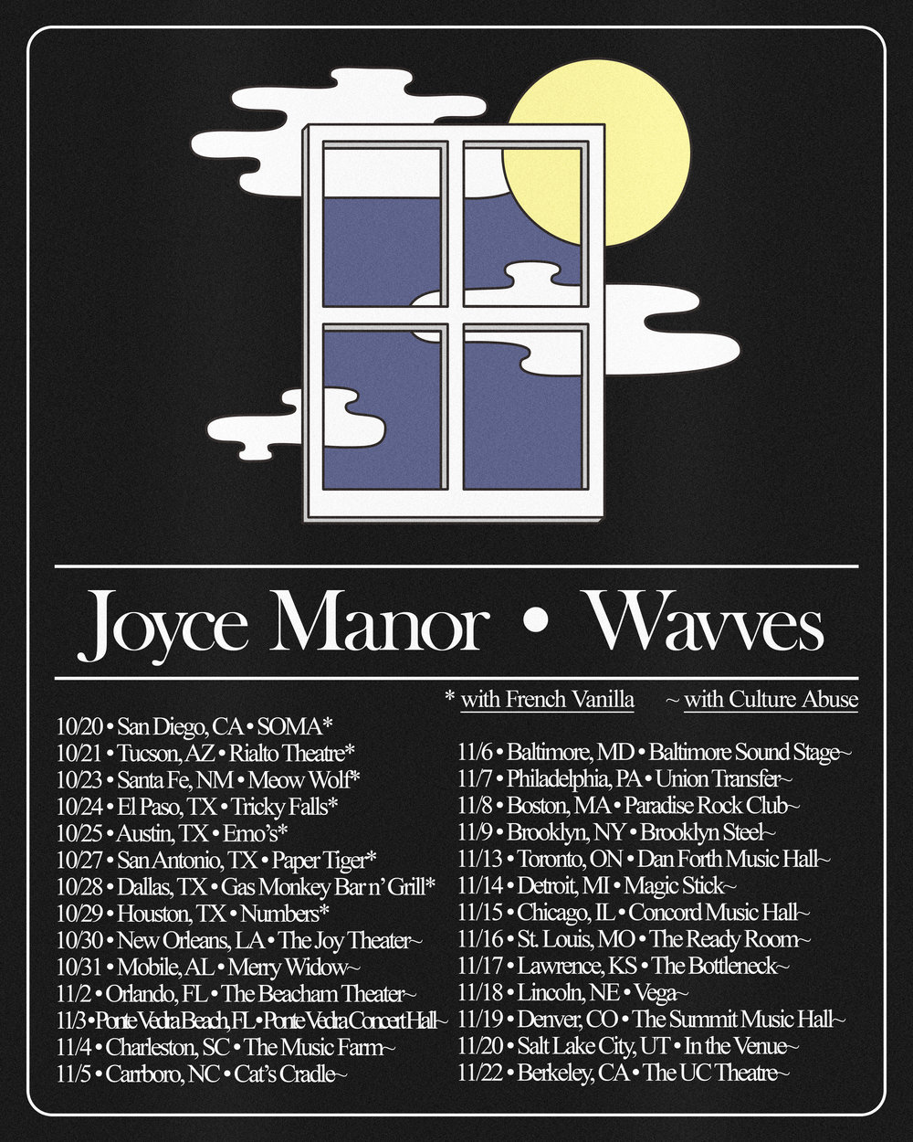 Tour poster for Joyce Manor + Wavves