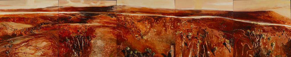 IAN BRACEGIRDLE. ALL THIS IN A DAY 2006 300cm x 60 cm- oil on ply panels