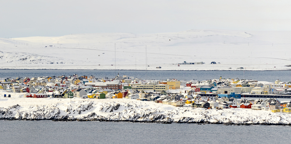 Vardø town as seen from Hornøya