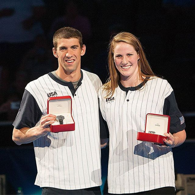 @m_phelps00 and @missyfranklin88  receive @omega  watches at the end of #swimtrials12