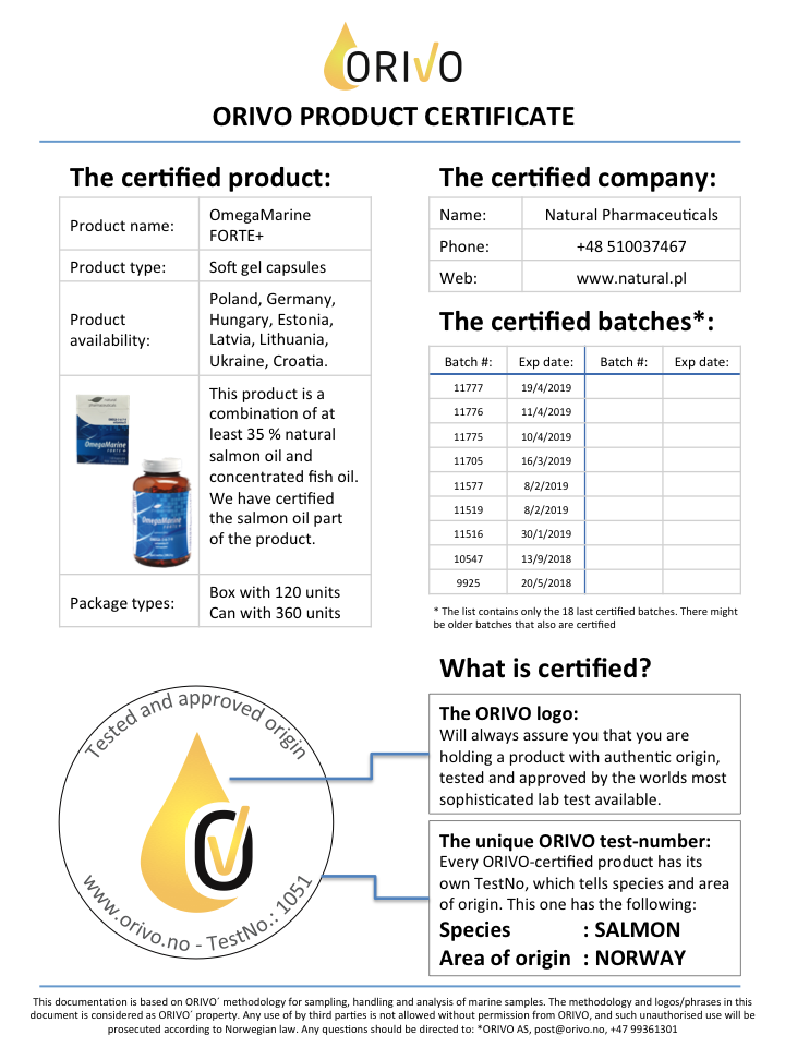 1706 Product certificate web OmegaMarineForte.png