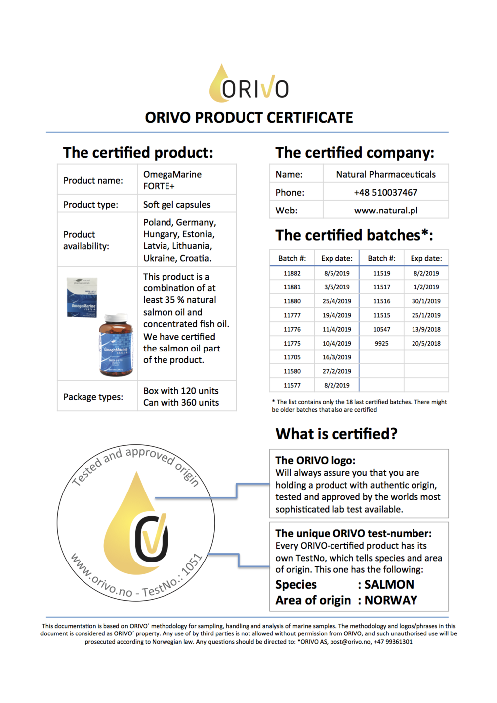 170908 Product certificate web OmegaMarineForte.png