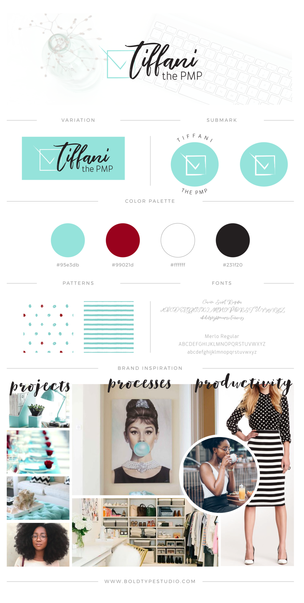 Brand Style Guide for Tiffani the PMP - a Project Management Professional based in the US