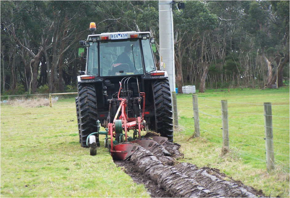 Mouldboard plough in action