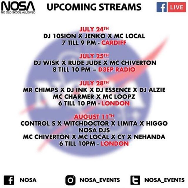 🚀 Can't wait for this! We're playing alongside a huge lineup for the @nosa_events live stream on August 11 📹 Watch live at facebook.com/NOSA