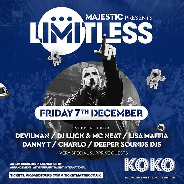 After selling out his last 3 London shows, our good friend @majesticonline brings his LIMITLESS live show to KOKO London for his biggest show yet with a MASSIVE line-up on Friday 7th December. If you've been to one of his shows before, you'll know they're not to be missed! Get your tickets NOW - I've seen the numbers and they're going FAST! TICKET LINK IN BIO ➡️ See you there x