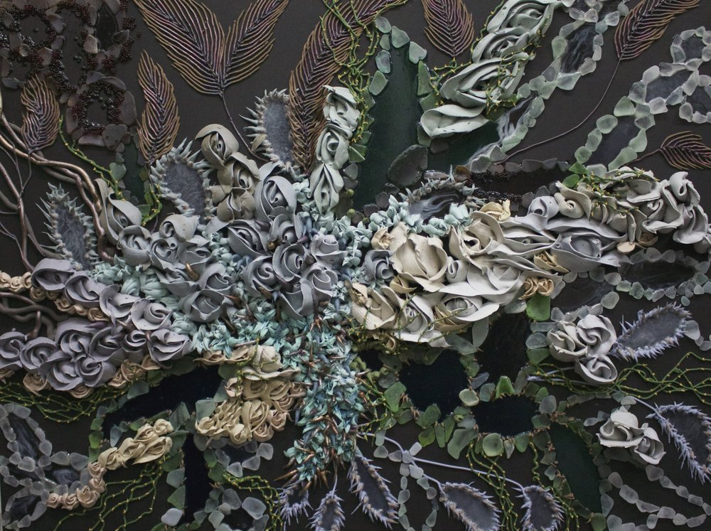 Seren Morey_sculptural painting_floral abstract