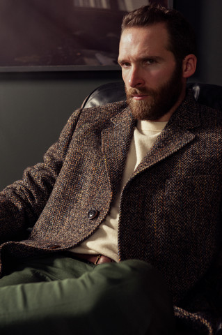Thornton coat, Dengie sweater, Vegan trousers
